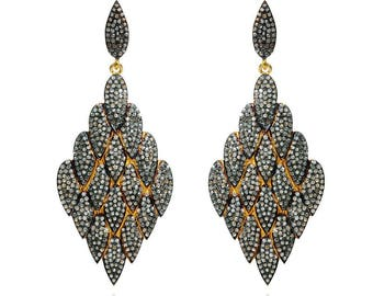 SDE1699 - Silver pave diamond earrings