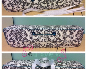 NEW! Cricut Maker and Cricut Explore/ Air/ Air2/ One Convertible Dust Cover/ Tote Bag Custom Handmade Gray and White Damask with Teal Piping