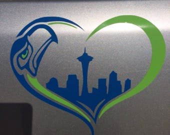 Seattle Seahawks Car Decal - Blue and Green - Heart Shaped