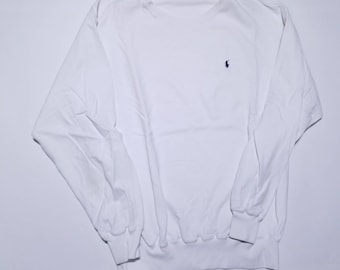 Polo by Ralph Lauren Vintage All White CrewNeck Jumper Sweater L