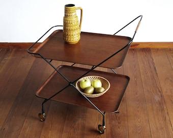 Vintage serving trolley, bar trolley teak and black metal, table midcentury with wheels, hinged, farmehouse furniture