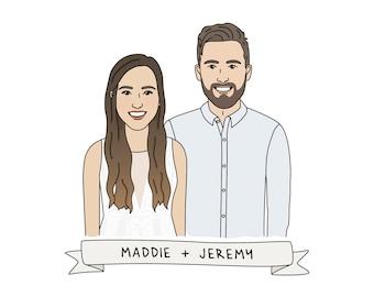 Couple Portrait Custom Couple Illustration, Custom Portrait, Anniversary Gift, Wedding Gift, Couple Portrait Illustration, Pop Art Portrait