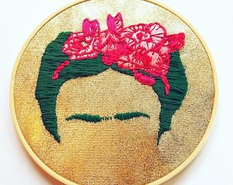 Stickbild FRIDA KAHLO, viva la vida, stay strong, bohostyle, grün, pink, mexican style, Wandbild, Deko, gold, glitter, Geburtstagsgeschenk