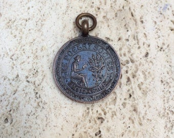 Lovely Vintage Bronze Fob Medal- The Poetry Society 1933- Awarded To M McHardy
