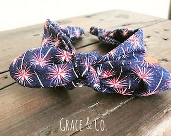 Fireworks Headwrap Headband || One size fits all 4th of July turban, knot headband