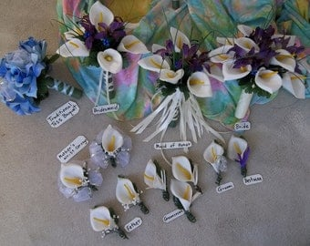 Set of 6 Calla Lily Boutonnieres