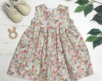Girls Vintage Ditsy Floral Print, Cotton Dress. For Summer, 0-6 years
