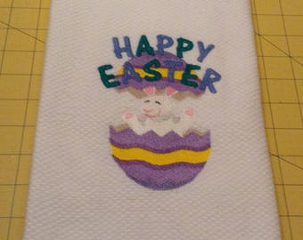 HAPPY EASTER - Easter Bunny in Painted Egg ! Embroidered Williams Sonoma All Purpose Kitchen Hand Towel, 100% cotton, XL