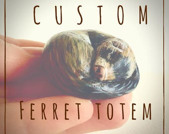 Custom Ferret Pocket Totem Pet Portrait Figurine Handmade Sculpture