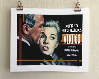 Vertigo, Alfred Hitchcock, Jimmy Stewart, Kim Novak, Old Hollywood, Vintage, Horror, Suspense, Thriller, Movie Poster, Art, Print, Geometric