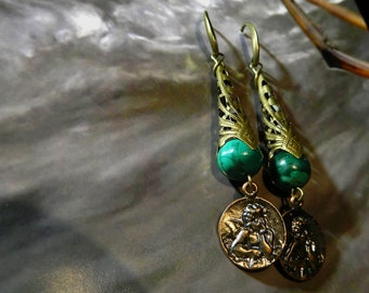Malachite earrings.