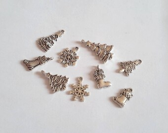 Lot 10 charms mixed Christmas finely worked silver 20 mm x 13 mm