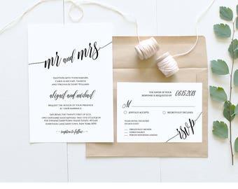 Wedding Invitation Template, Instant Download, Rustic Modern Wedding Invite Set, RSVP, Info Card, DIY Printable, Editable Template #020A