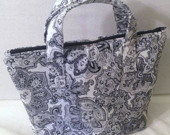 100% Cotton Lunch Tote/Lunch Bag/Insulated Fabric Cooler - Black & White Floral