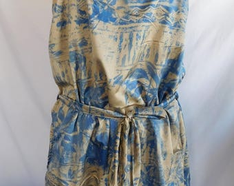 short blue and Brown summer dress