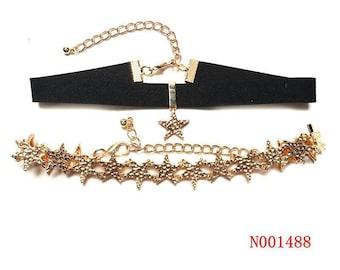 Black Velvet Gold Star choker,black gold star choker necklace,gold star choker,blackchoker,Black Velvet Gold stars choker, Gift for her