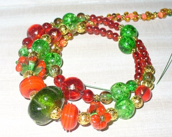 1 Bead Strand 50 cm red green (k 820.15)