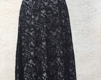 Black lace overlay  maxi skirt, detachable long skirt for wedding gown