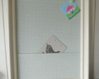 Cream frame, blue checked cotton with pocket pinboard