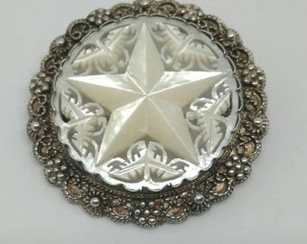 Hand Carved Mother of Pearl and Jerusalem Silver Brooch
