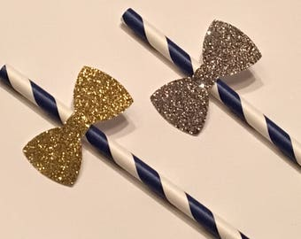 12 Glitter Bow Straws Royal Blue and White Straws Baby Shower Straws Wedding Shower Straws Birthday Straws Engagement Straws Gold Silver