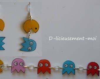 chain bracelet arure and pacman and ghosts crazy shrink plastic earrings