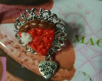 Ring tray filigree lace adjustable adjustable tart raspberry whipped cream polymer clay fimo and heart charm