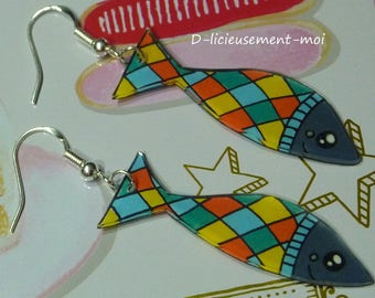 Earrings silver sterling 925 fish sardine kawaii Plaid crazy shrink plastic