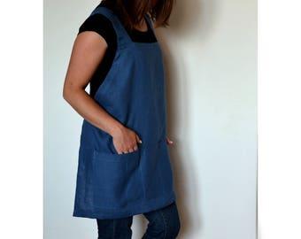 Linen apron, short apron, japanese apron, artist apron, woman apron, artist smock, cross back linen apron, linen tool apron, plus size apron