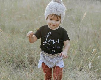 Love Shirt, Monochrome Shirts, Love Harder, Baby Love Shirt, Toddler shirts, Kids Shirts, Love Shirts, Black and White