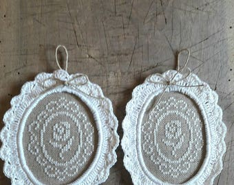 embroidered linen with a white rose, framed with a Medallion crochet lace.