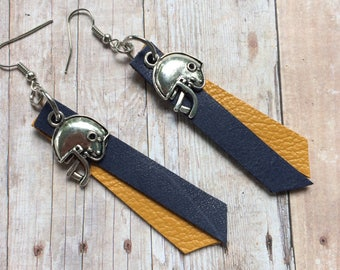 Gameday navy and gold leather earrings, football navy and gold earrings, football helmet earrings