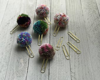 Mini Pompom Paperclips Set of 3, Mini Pompom Plannerclips Set of 3