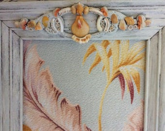 Vintage Hawaiian Barkcloth Wall Art, Wood Frame, Distressed with Antique Wood Trim Piece, Shells and a Polymer Gecko with Beading