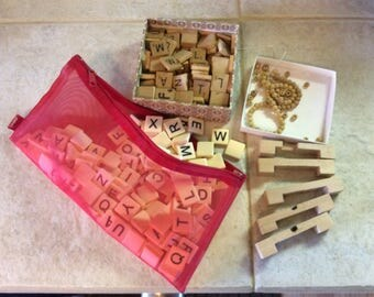 Vintage Wood and Resin Craft Lot, Scrabble Letters,(the real game pieces), Wood Beads and Wood Blocks