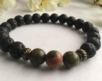 Unakite and Lava Essential oil Diffuser Bracelet