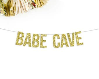 Babe Cave Glitter Banner | dorm room | apartment | banner | photo prop | bar sign | bachelorette party | birthday party | 21st birthday