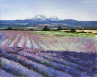 Landscape painting, original  painting, Fields of lavender