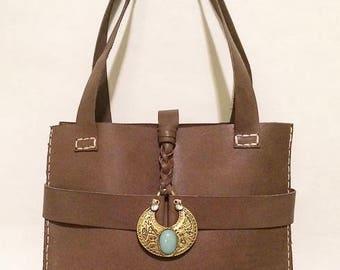 Chocolate Leather Emeny Handbag