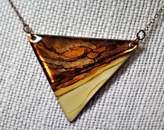 Shades of Brown Triangle Hand Painted Necklace