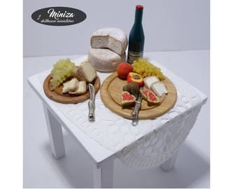 Miniature table with snacks, 1:12 scale