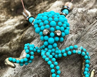 Octopus Necklace in Blue with Dangling Gear for perfect fit