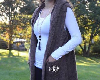 Monogrammed -  Fur Vest with Hood & Pockets - Several Colors!