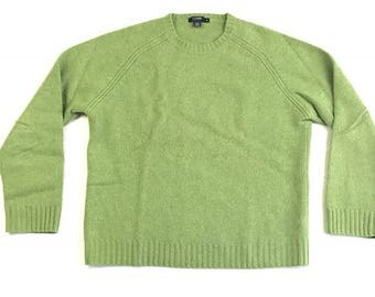 J CREW SWEATER Green medium ugly Christmas fleece vintage 100% lambs wool long sleeve handknit M