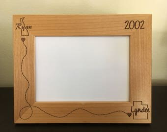 Personalized State Wedding Frame Couples Frame Long Distance Solid Wood  Engraved Frame   5th Anniversary Gift