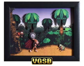 Donkey Kong Country Shadow Box - Jungle Hijinks - SNES - Super Nintendo - 3D Shadow Box Glass Frame - 12x10 - Christmas - Retro Classics