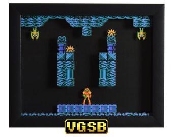 Metroid  Shadow Box - Brinstar - NES - Nintendo - 3D Shadow Box Glass Frame - 12x10 - Christmas Gift - Retro Video Game Art
