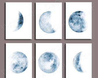 Moon Phases Watercolor Art Prints - Set of 6 Lunar Phases Prints - Blue Moon Chart Posters - Morden Wall Art Gift