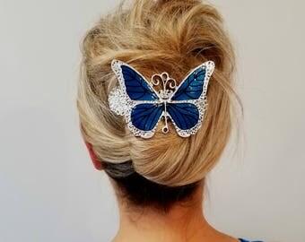 Blue Butterfly Hair Clip, Butterfly Barrett,Statement Hair Accessory, Hair Jewelry, Hair accessories for women,