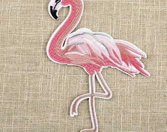 Flamingo Iron On Patch/ Badge Embroidered Applique